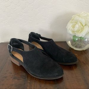 Crown Vintage Mule Slip on Flata Black Suede 8.5